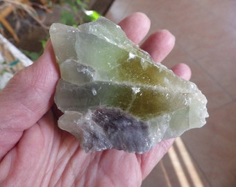 Raw Green Calcite Cluster  w/Yellow, Lavender - Mental Balance