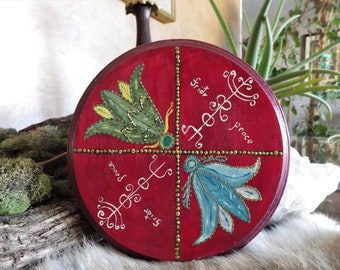 Hand painted Sun Wheel of Peace Rune wall hanging