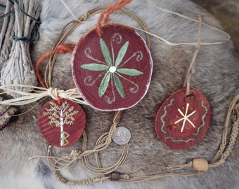 Hand Painted Wood Pendants/hangings - Yule tree decorations, Rune hangings, Hex sign, Berkano, Hagal, viking decor, Norse decor,