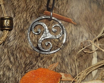 Forged TRIQUETRA Celtic pendant - Celtic Jewelry