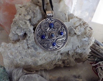 Battersea Luxury Brythonic Jewel Bronze w/lapis lazuli - Celtic Jewelry