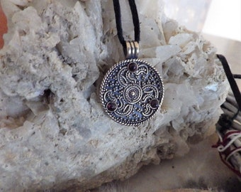 Anglo-Saxon Triskel Pendant Bronze Eagle Heads with garnet - Celtic Pendant Triskel Pendant Celtic Jewelry