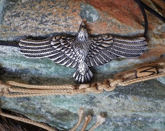 Flying Raven Pendant - Crow Pendant, Viking Jewelry