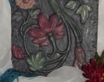 Handpainted Wall Tile - Molded Plaster