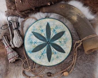 Hand painted Glukstern (Star of Luck) Wall Hanging Rune decor Rune Pendant viking decor Norse decor Wood Decor