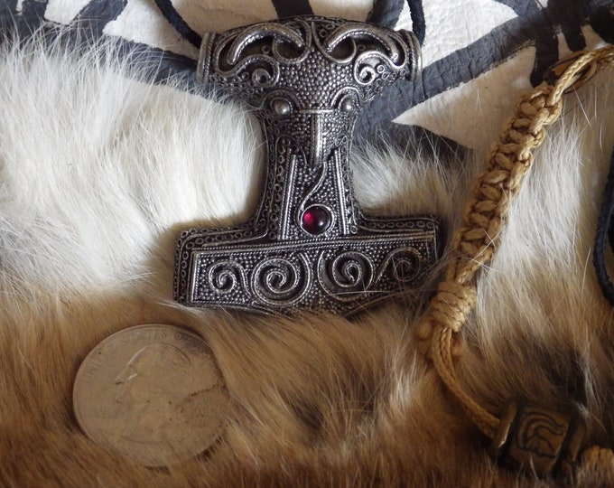 Featured listing image: Scania, Thor's Hammer w/garnet Pendant Viking Jewelry