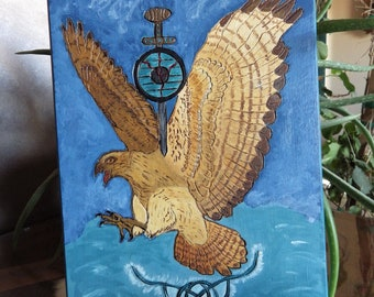 Hand Painted Valkyrie Hawk Rune Wood Wall Decor - Viking and Norse Decor