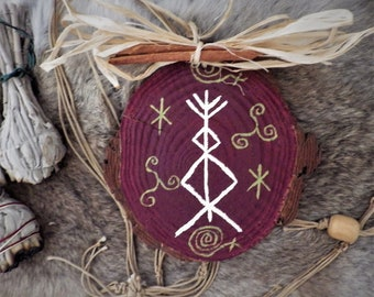 Hand painted Rune Wall Hanging with bind rune for prosperity and well being viking decor