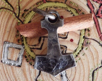 Mjolnir Hand Forged Hammer w/leather bolo    Viking Jewelry