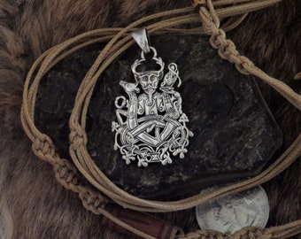 Sterling Silver Cernunnos  the Horned God -   Celtic Amulet, Celtic Jewelry. Pagan Jewelry