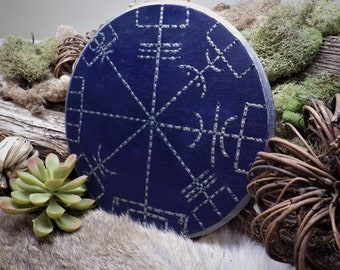 Hand Painted Vegvisir Rune wall hanging Rune decor Rune pendant viking decor Norse decor Icelandic GaldrDecor