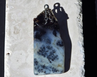 Dendritic Blue Agate Stone pendant for necklace    Crystal Energy