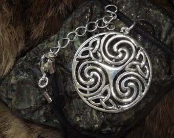 Silver Triple Celtic Spiral Pendant - Celtic Knotwork Jewelry,