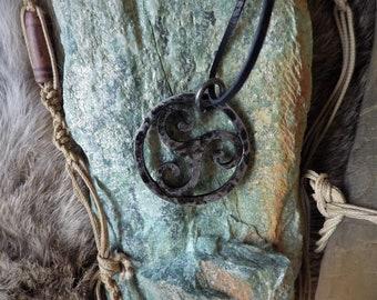 Forged TRISKELION Celtic pendant - Celtic Jewelry,