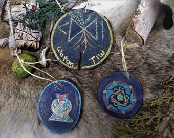 Hand painted Rune Pendants for Transformation - Norse decor