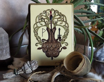 The Yew and Hammer Taufr  Norse Rune Decor