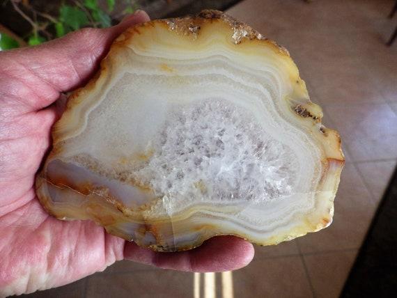 White Chalcedony and Quartz Slice