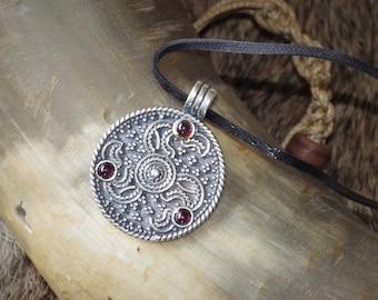 Sterling Silver Anglo-Saxon Triskele Pendant Eagle Heads with garnet - Celtic Pendant
