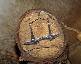 Danish Sterling Silver Thor's Hammer Earrings -  Mjolnir Pendant  Asatru Pendant Viking Jewelry Norse Jewelry