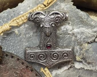 Scania, Thor's Hammer w/garnet Pendant Viking Jewelry
