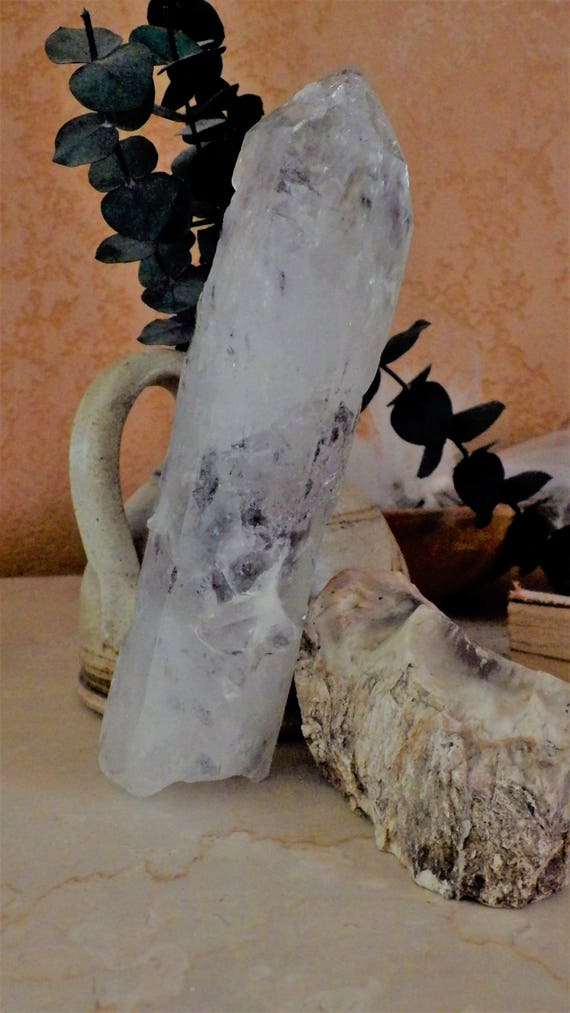 Large crystal Wand with Grey Occlusions and Seed Crystal