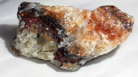 Tricolor Calcite - The Happy Stone - Layers of Crystals, Crystal Rays and Stone