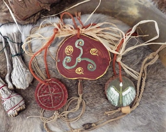 Hand Painted Wood Rune Pendants - Norse decor,