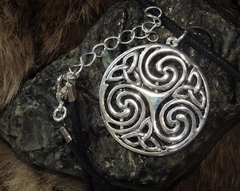 Silver Triple Celtic Spiral Pendant - Celtic Knotwork Jewelry,
