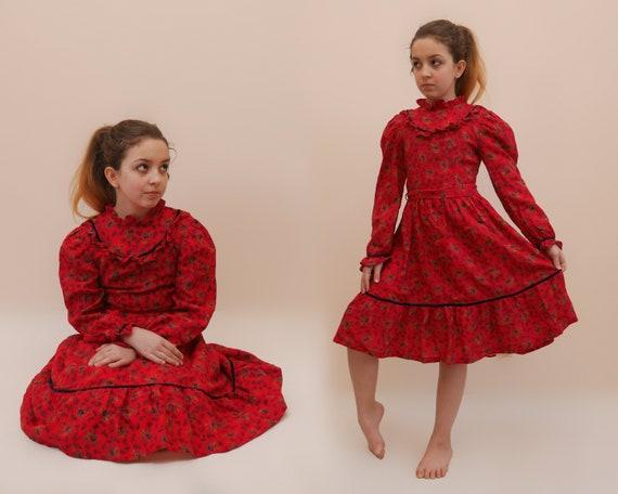Girls Calico Folk dress Red drindl dress Ditsy pri