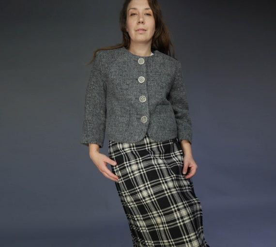 Grey crop Vintage Blazer Tyrolian woolen jacket Ru