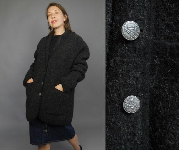 Vintage gray wool coat Grey Trachten cardigan Loos