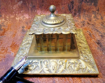 style of William Tonks Victorian brass inkstand with faceted glass inkwell with stopper writing desk decor calligraphy Antique ink pot