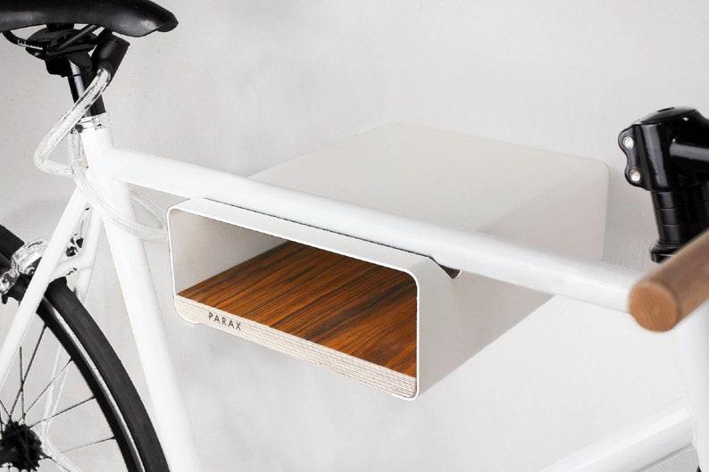 PARAX Bicycle wall holder S-RACK white / walnut image 0
