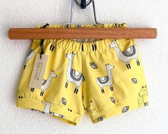 Organic llama kids shorts, llama baby shorties, baby beach shorts, toddler boy shorts, toddler girl shorts, girls summer clothes, llamas