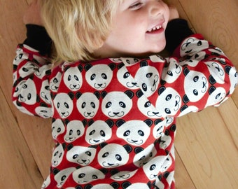 Kids red panda sweatshirt, toddler panda sweater, red toddler sweatshirt, baby boy sweatshirt, panda baby clothing, kids panda shirt