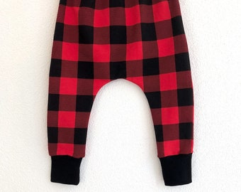 6708fcb7e3d31 Black and red plaid baby pants, organic check baby leggings, buffalo plaid  baby leggings, tartan baby clothes