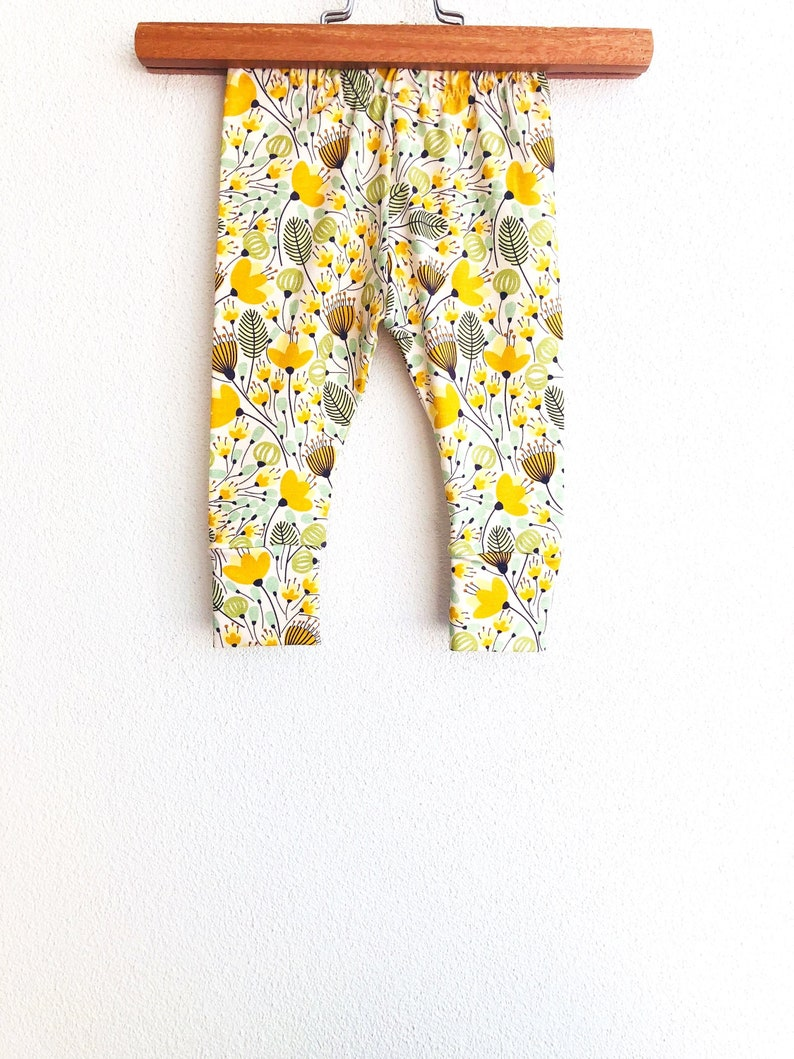 8f090fb75 Mustard floral baby pants gold baby leggings | Etsy