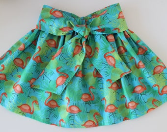 Girl's skirt, flamingo skirt, summer skirt, toddler skirt, baby skirt, skirt with belt, twirly, cotton