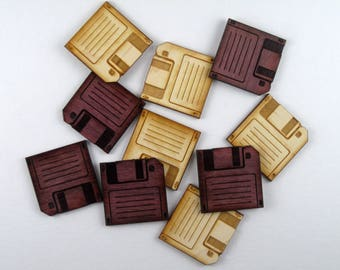 Floppy Disk Wooden Stickers
