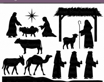 image about Nativity Scene Silhouette Printable titled Nativity silhouette Etsy