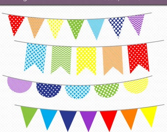 rainbow bunting clipart digital art set rainbow colors banner flag instant download