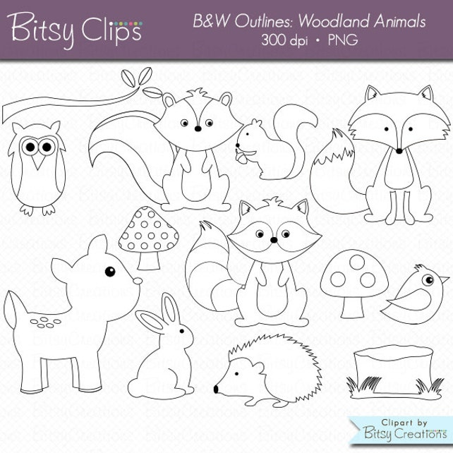 Woodland Animals OUTLINE Digital Art Set Clipart Commercial
