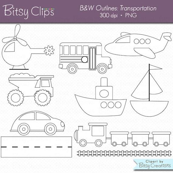 Transporte contornos imágenes prediseñadas comercial uso Clip