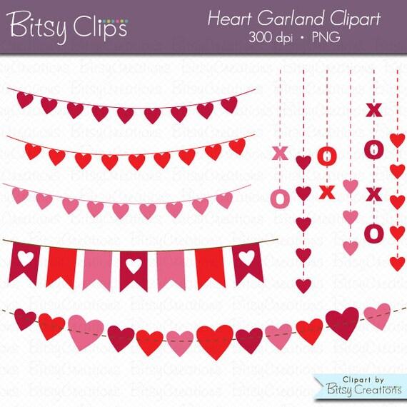 Herz Girlande Clipart digitale Kunst legen Sie sofortigen | Etsy