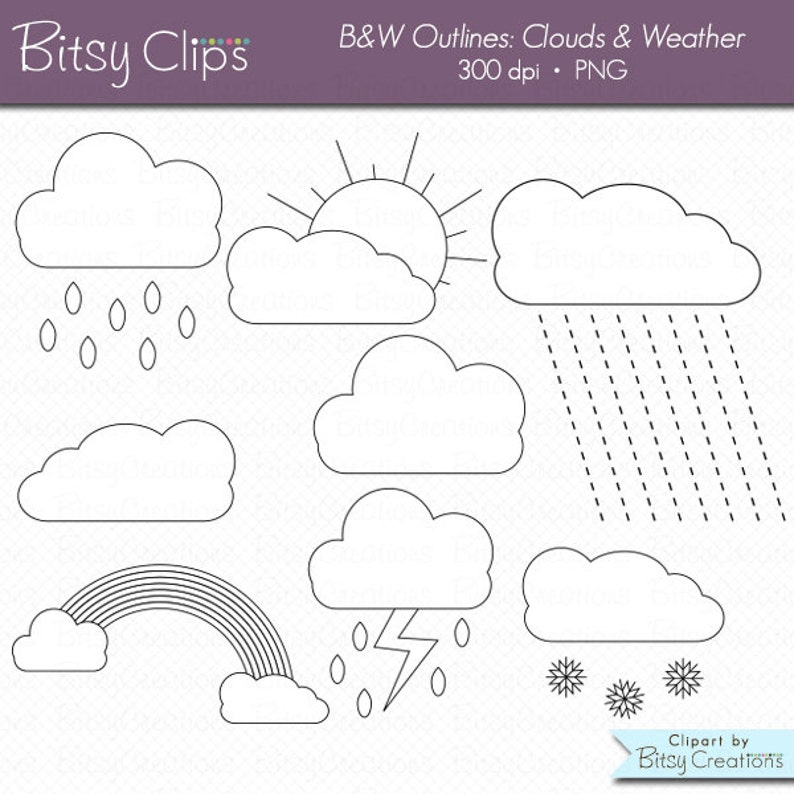 Clouds and Weather OUTLINES Clipart Commercial Use Clip Art Digital Stamps  Black and White Clipart