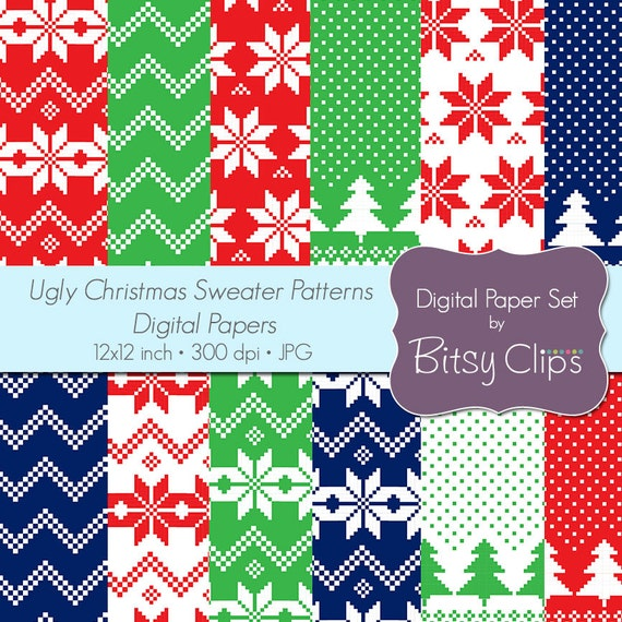 Ugly Christmas Sweaters Patterns.Ugly Christmas Sweater Patterns Digital Paper Set Commercial Use Clip Art Instant Download Christmas Scrapbook Paper