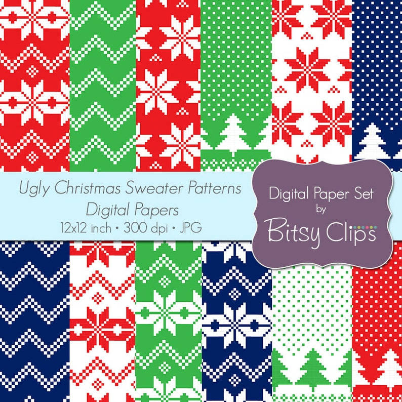 Christmas Sweater Pattern.Ugly Christmas Sweater Patterns Digital Paper Set Commercial Use Clip Art Instant Download Christmas Scrapbook Paper