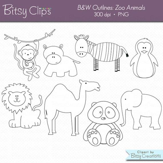 Zoo animales contorno Digital conjunto de arte gráfico