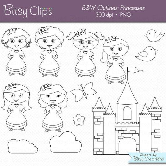 Sellos de princesa esquema gráfico blanco y negro imágenes