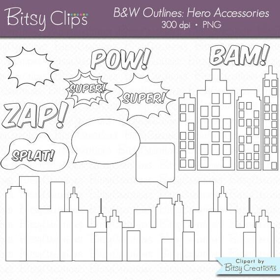 Sellos de héroe cómico accesorios contornos imágenes   Etsy